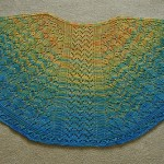 Wool Therapy knitted by Kelly Eells using HeartStrings pattern for All-Over Lace Faroese Shawl