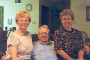 "Daddy with 2 of his 3 ""little"" girls: Jackie and Carolyn"