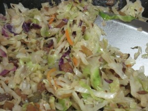 A view of the cabbage in the wok.