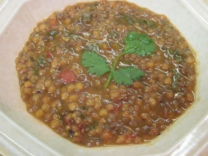 Whole Green Lentils with Cilantro and Mint