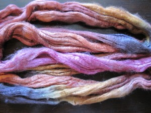 Hand-painted silk roving