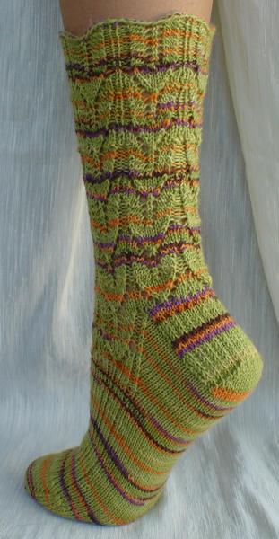 Country Girl Socks in Lion Brand Sock Ease, color Sour Ball