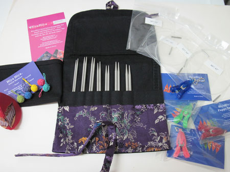"Hiya Hiya interchangeable knitting needles with 5"" tips"