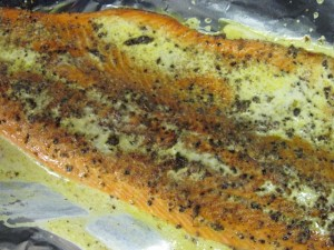 fish brushed with mustard cream sauce