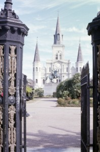 Looking across Jackson Square toward the St. Louis Cathedral