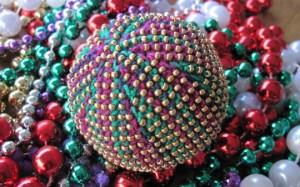 Mardi Gras Beaded Bead Ball