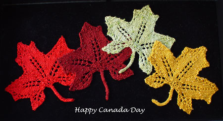 Happy Canada Day knitted lace maple leaves