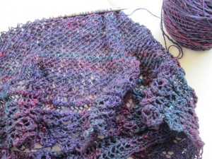 Blackberry Crescent Shawl in progress