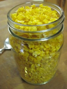 24 ounces of dehydrated corn filled a pint jar to the top