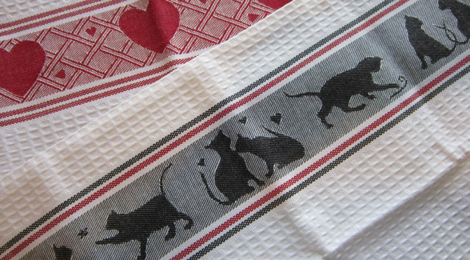 set of waffle weave towels - hearts and cats at play