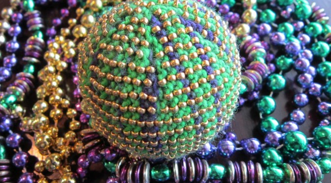 Mardi Gras Ball knitted by Joanne Conklin