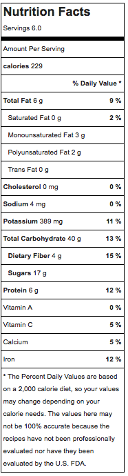 quinoa pudding nutrition information