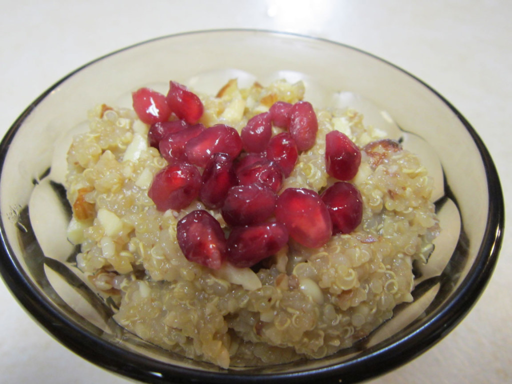 Quinoa Pudding garnished with pomegranate arils