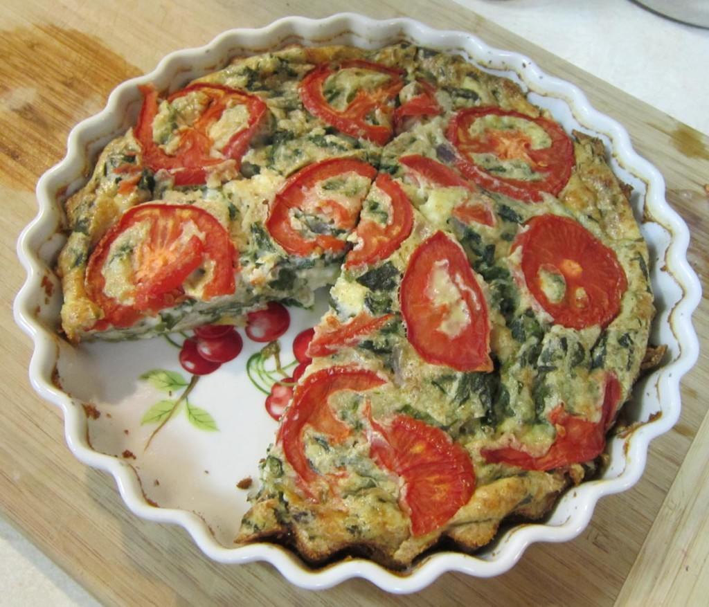 Spinach Feta Crustless Quiche