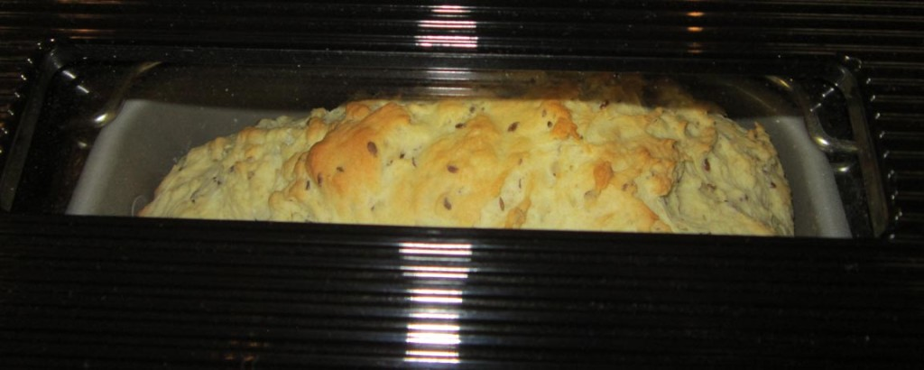 Peaking at the progress of the bread baking through the view window of the Zojirushi Home Bakery Virtuoso bread maker